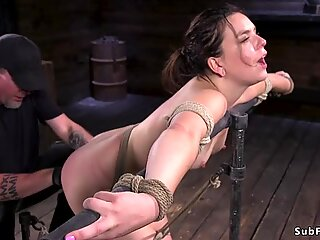 Hairy pussy brunette in upside down suspension