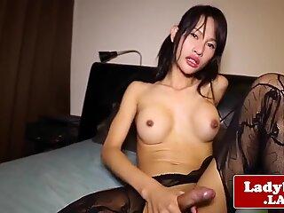 Kinky ladyboy solo wanking her hard cock
