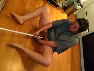Horny punk rock bitch jerk off with vegetable