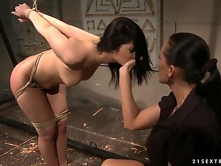 Busty Mandy Bright tortures tied up Naomie