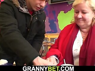 picked up huge old grandma plays with his hot kinky dick