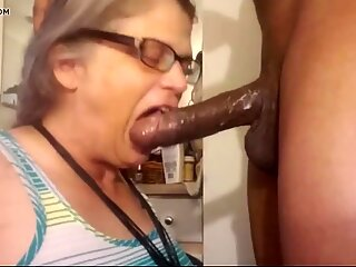 Granny wants black boys big cock in her mouth. Gilf BBC