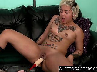 Asian black slut roughed & degraded