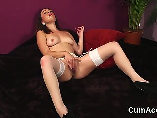 Horny peach gets cumshot on her face sucking all the load