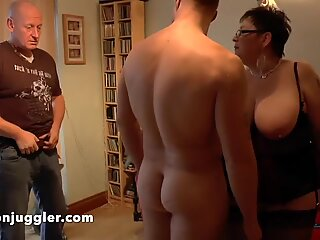 Granny with huge tits and ass fucked by her stepson
