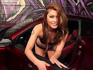 Gorgeous Japanese race car driver is also good in depraved positions in the cockpit of her Ferrari.