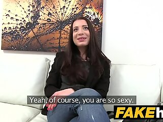 Fake Agent Innocent sexy brunette likes sucking and riding cock