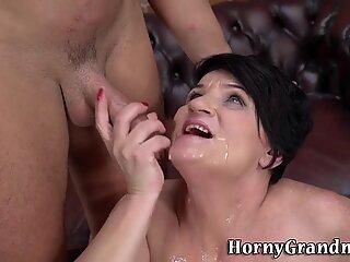 Mature granny tit fucks and sucks