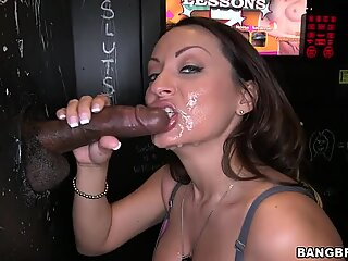 Vanessa Luna takes two facials from the gloryhole